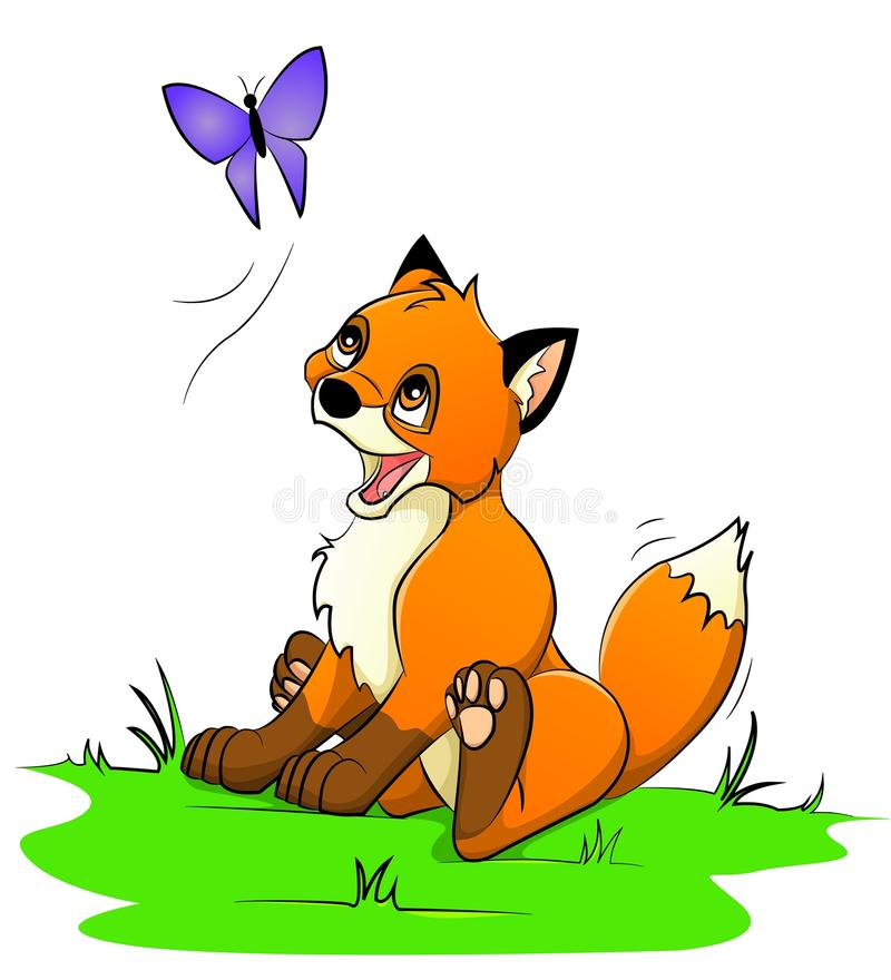Download Little fox stock vector. Image of smiling, playing, butterfly - 20678647