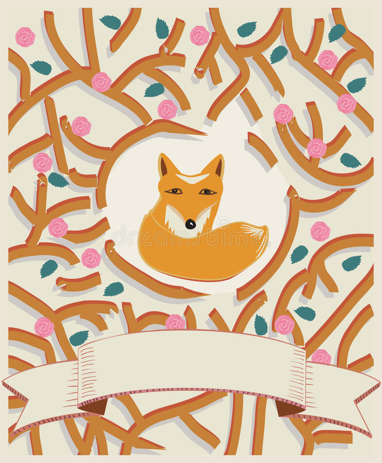 Download Little Fox In A Forest Card Design Stock Vector - Illustration of illustration, predator: 39502375
