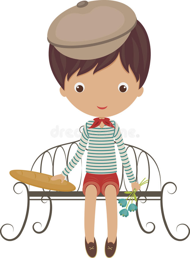 Little french boy. Sitting on a bench with baguette and flowers vector illustration