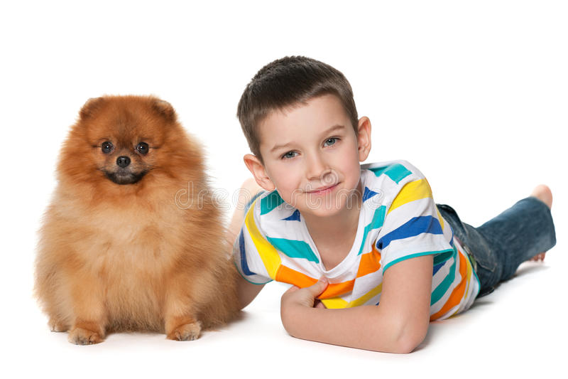 Little friends. Cute little boy is lying on the floor with a pomeranian spitz stock photography
