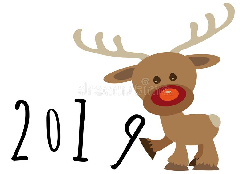 Little funny baby cartoon reindeer supporting number eight in numeric year, pour feliciter 2019 royalty free stock images
