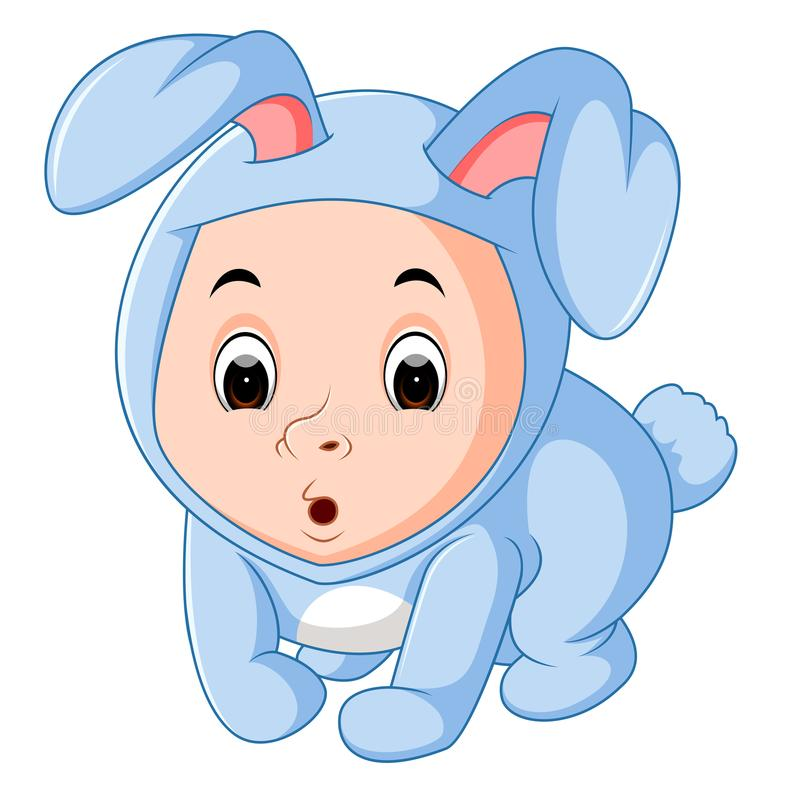 Little funny baby wearing rabbit suit royalty free illustration