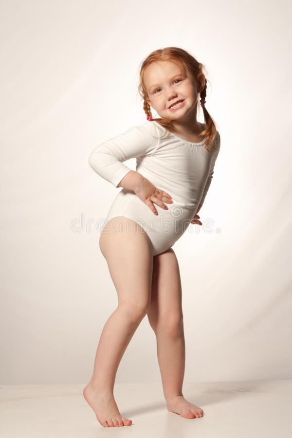Little funny ballet girl royalty free stock image