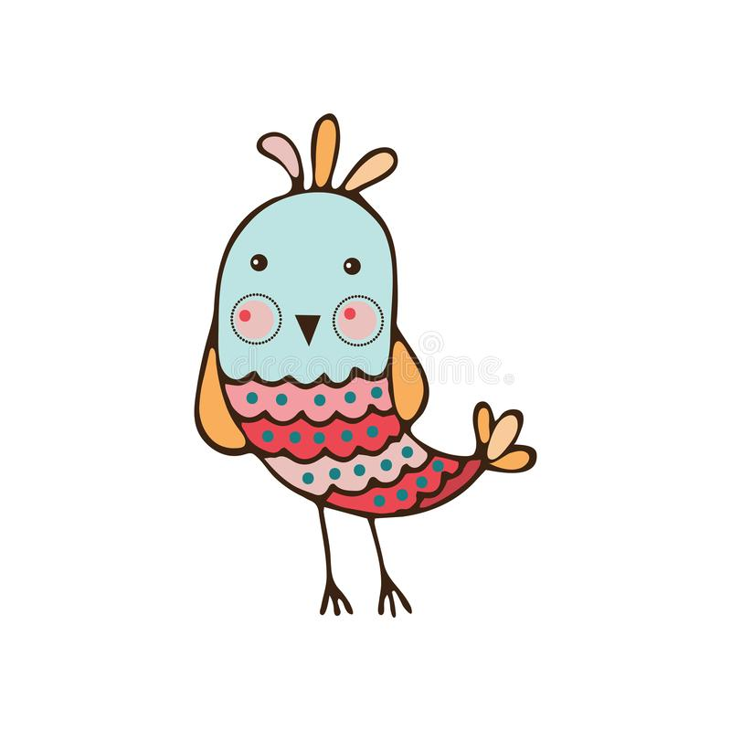 Little funny cute bird bird looks in front of him. Cartoon character object icon isolated on white background, vector illustration vector illustration
