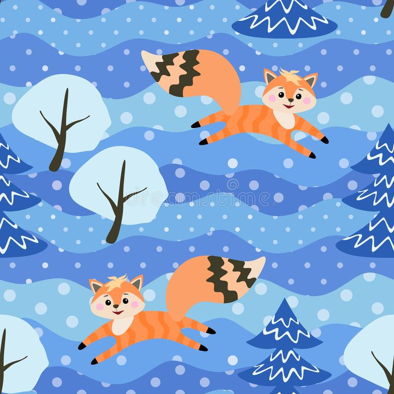 Little funny foxes frolic in the winter forest among the snow-covered trees. Seamless pattern in vector vector illustration