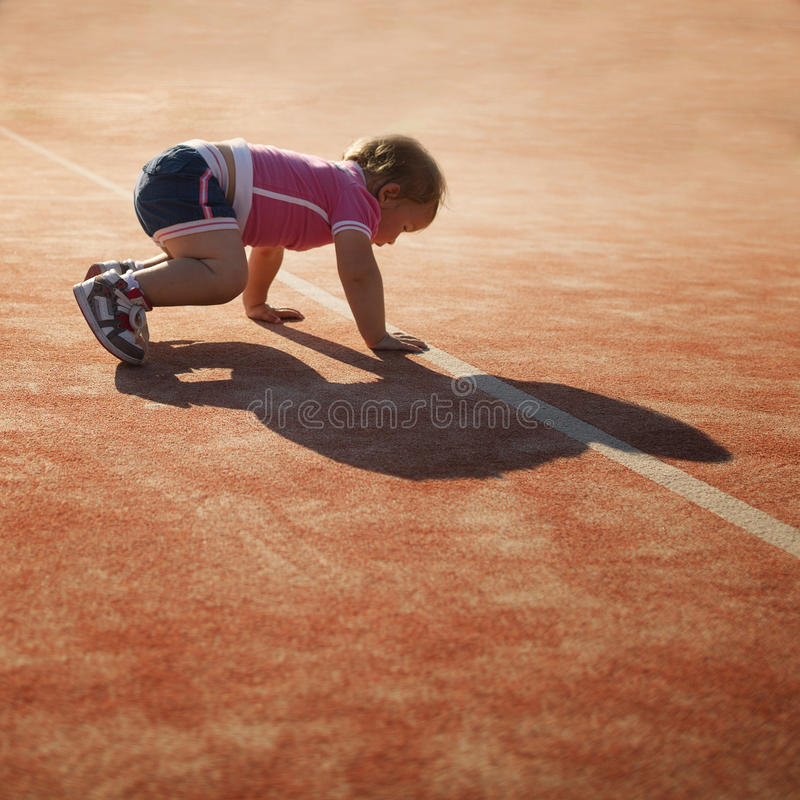 Free Little Funny Girl On The Start Royalty Free Stock Photography - 39616367