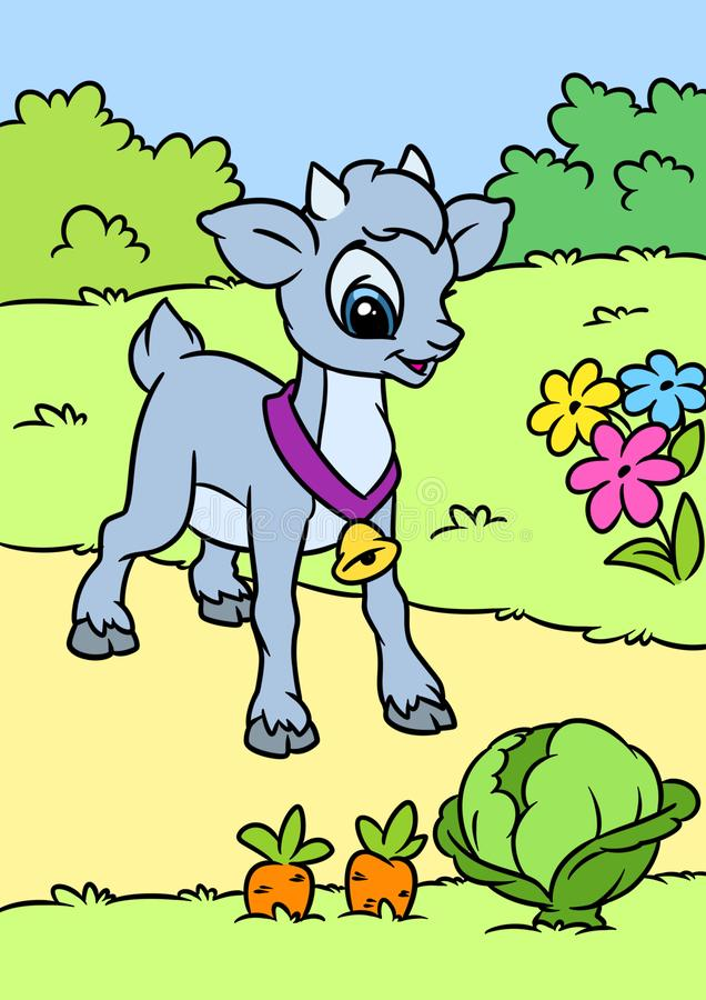 Little funny goat animal character cartoon village garden royalty free illustration