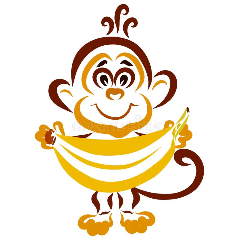 Little funny monkey with a big banana in his hands vector illustration