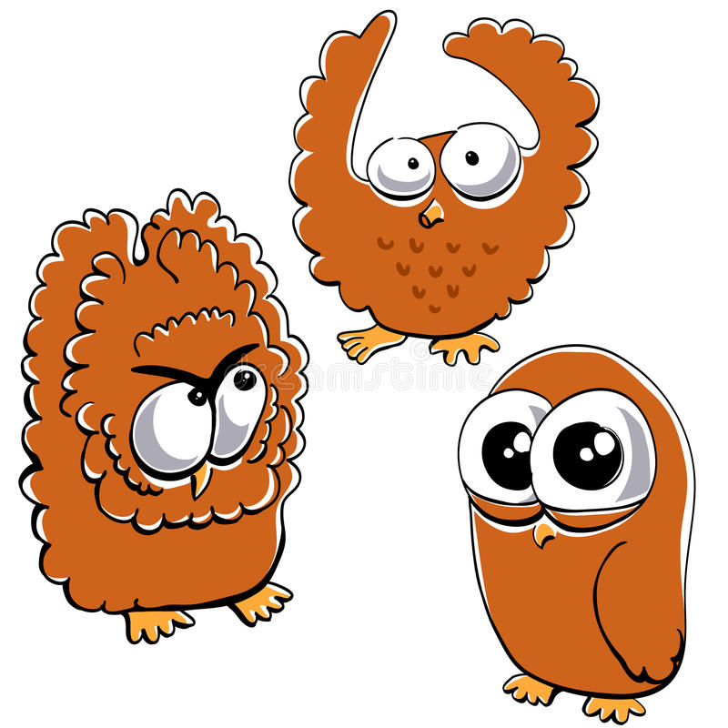 Download Little funny owl set #2 stock vector. Image of scared - 16635130