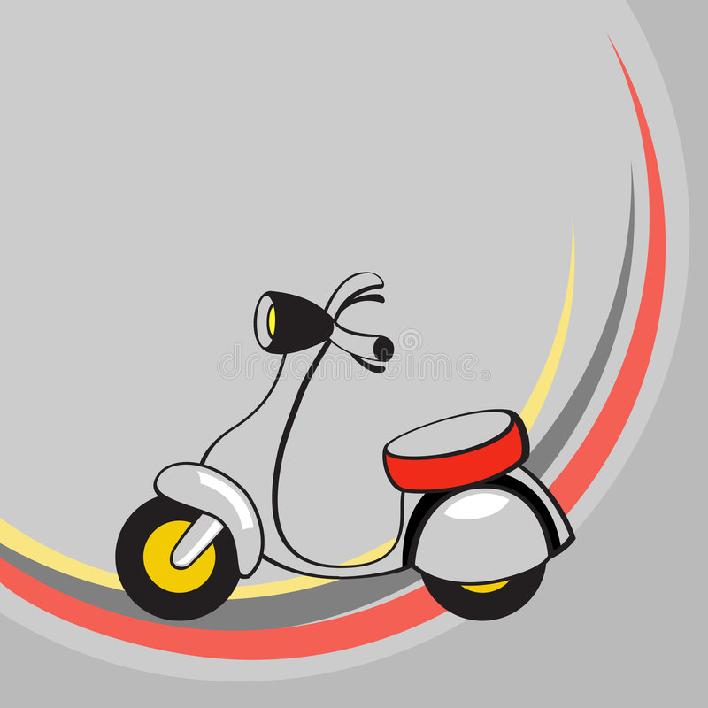 Little funny scooter. Vector illustration of Transport Cartoon . Little funny scooter royalty free illustration