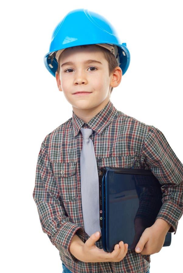 Little future architect holding notebook stock photo