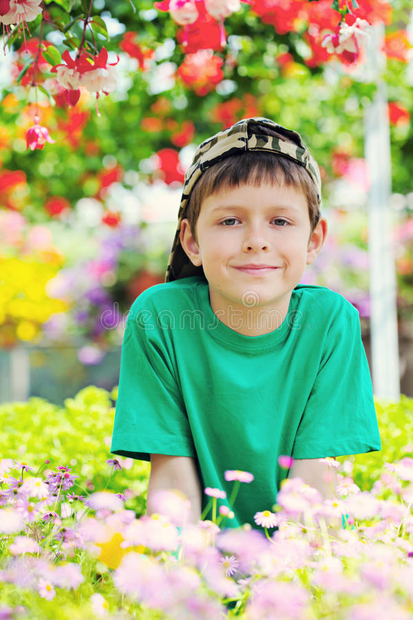 Little gardener stock photo