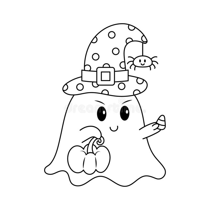 Free Little Ghost With Pumpkin And Candy Corn Colorless Royalty Free Stock Photography - 173928077