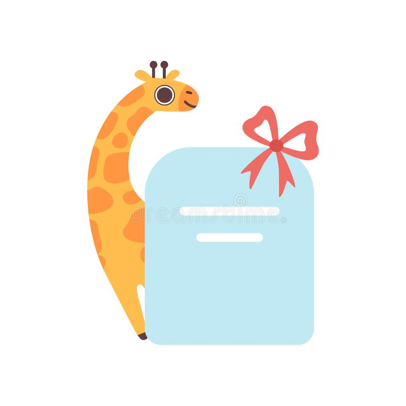 Little Giraffe Holding Empty Banner with Red Bow, Cute Cartoon Animal with Blank Sign Board Vector Illustration vector illustration