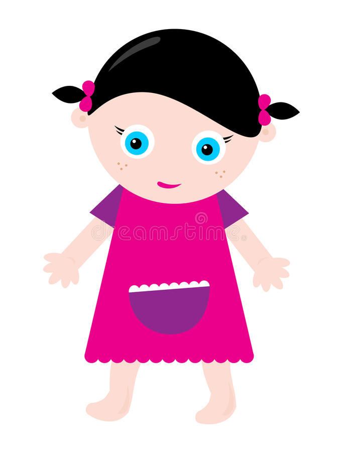 Download Little girl stock vector. Illustration of girl, barefoot - 17896414