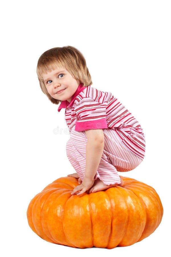 Download Little girl stock image. Image of pumpkin, sitting, children - 22399191