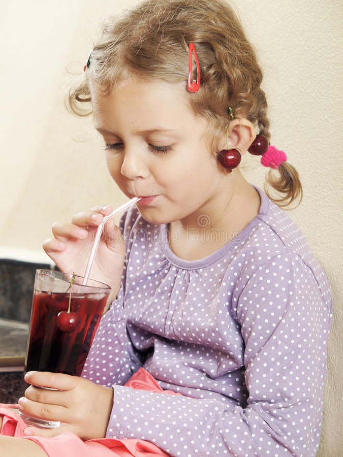 Download Little girl stock image. Image of indoor, home, cherry - 25780555