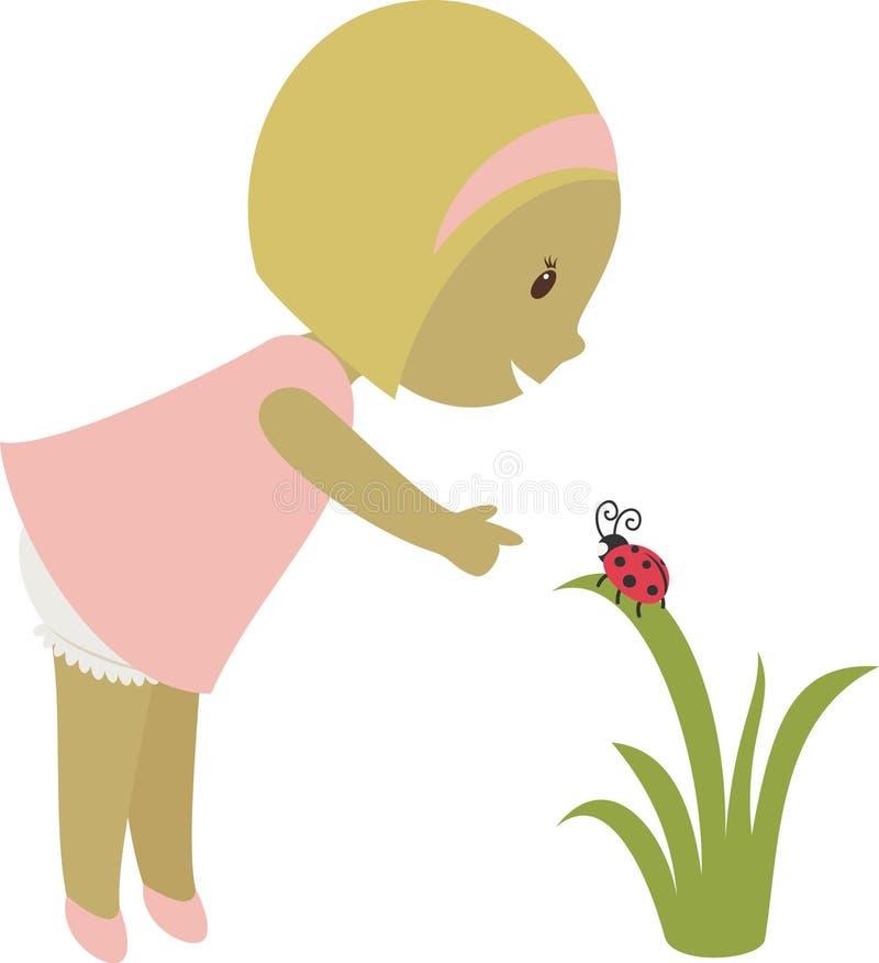 Download Little girl stock vector. Image of outdoor, element, ladybug - 28844012
