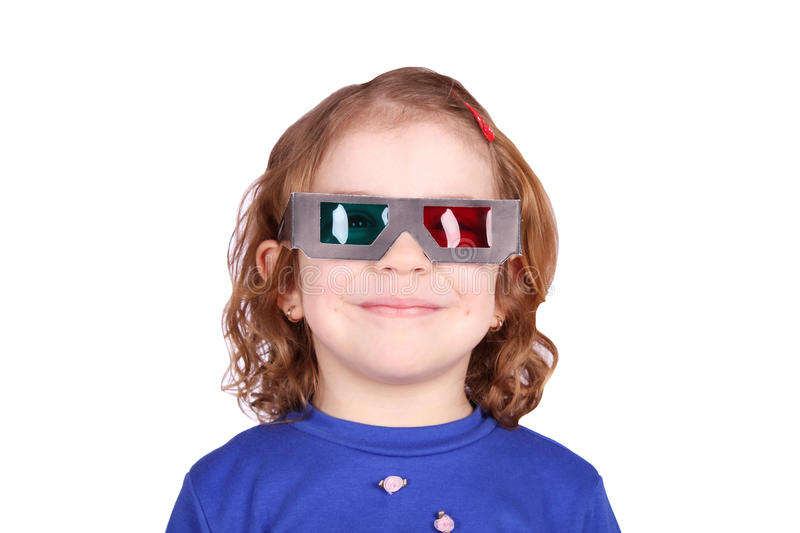 Download Little Girl With 3d Glasses Stock Image - Image: 18732615