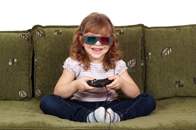 Little Girl With 3d Glasses Play Video Game Royalty Free Stock Image