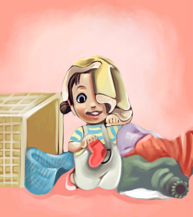 Little girl. Playing with laundry basket royalty free illustration