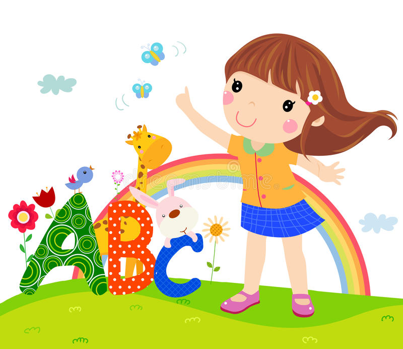 Little girl and ABC royalty free illustration