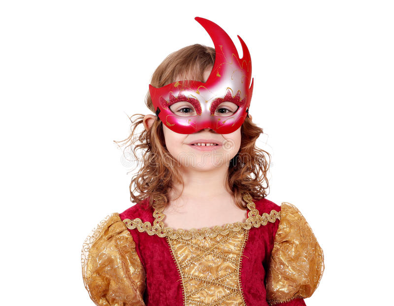 Little girl actress with mask. Little girl theater actress with mask royalty free stock image