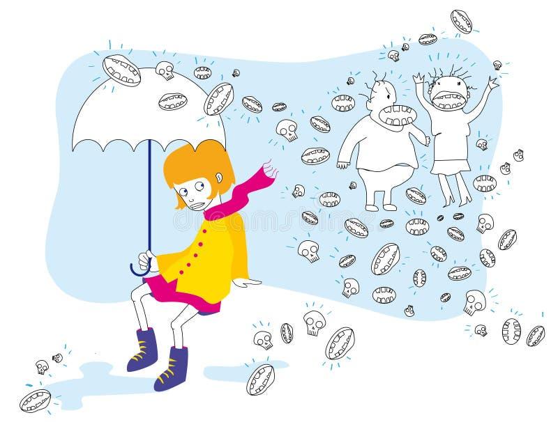 Little girl afraid of her yelling own parents vector illustration