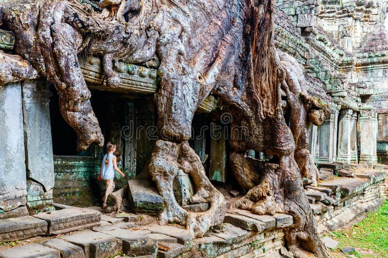 Preah Khan temple. Little girl at ancient Preah Khan temple in Angkor Archaeological area in Cambodia stock image