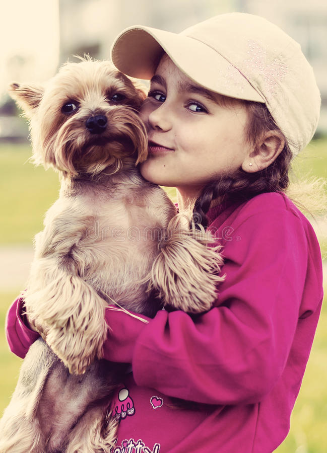 Free Little Girl And Dog Stock Photo - 41628240