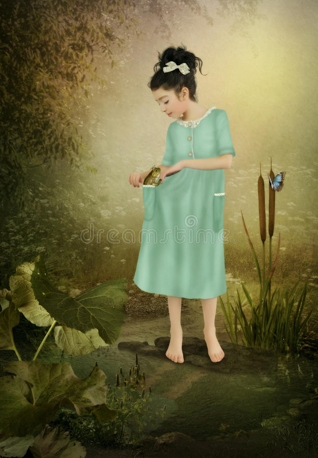Free Little Girl And Frog Stock Photos - 66513663