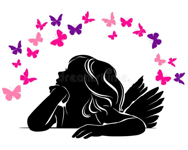 Little girl angel and Butterflies royalty free illustration