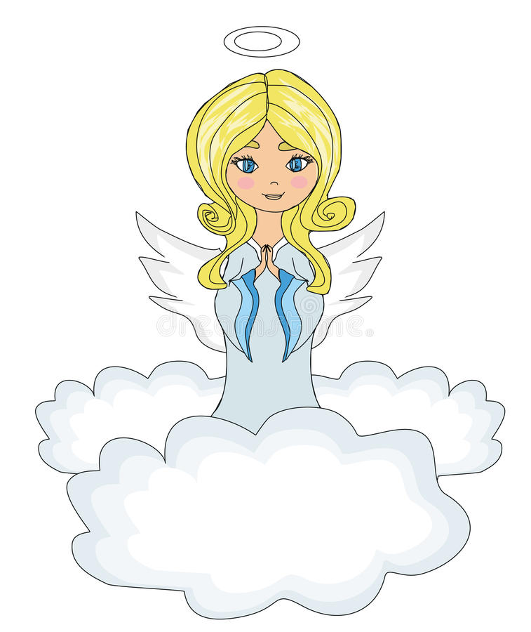 Download Little Girl Angel Praying While Kneeling On The Clouds Stock Illustration - Illustration of girl, lifestyle: 33217999