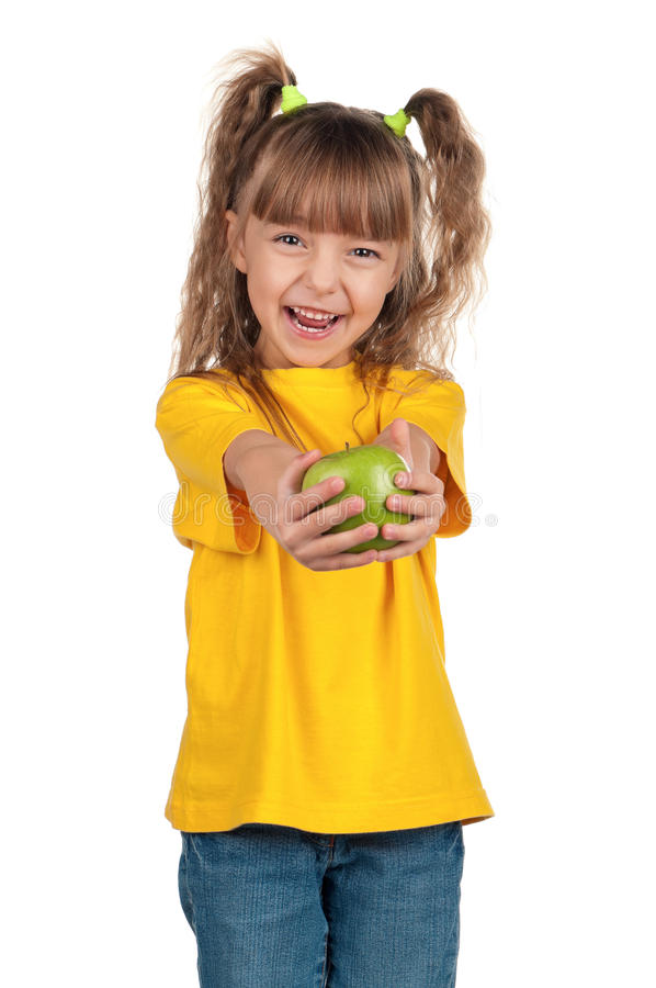 Download Little girl with apple stock image. Image of nature, girl - 23000177