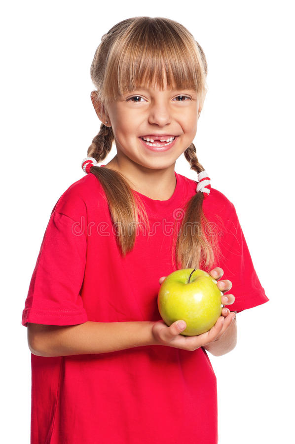 Download Little girl with apple stock image. Image of cheerful - 27688179