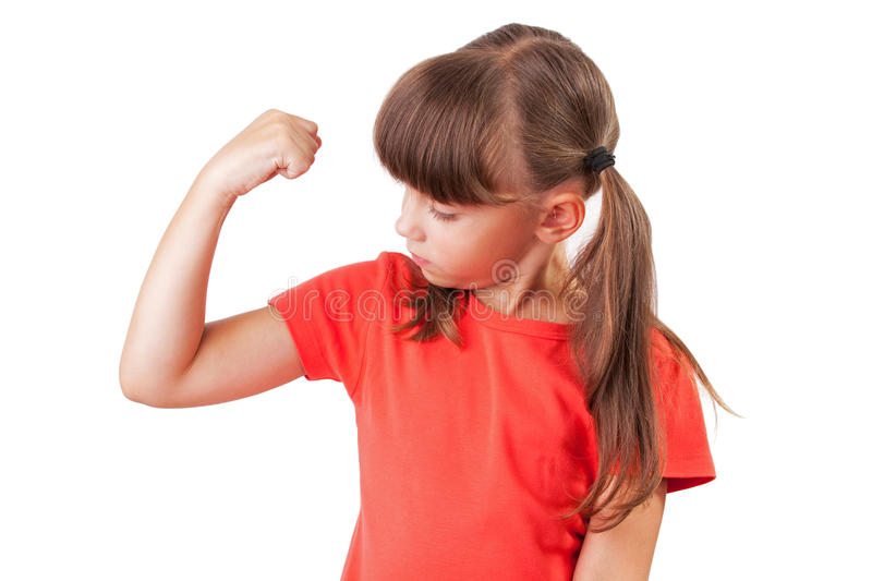 Little girl appreciates the size of biceps