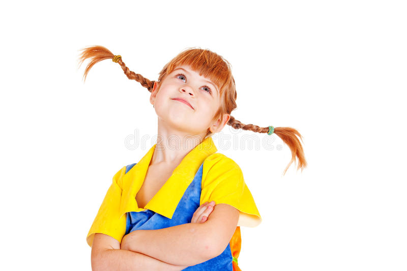 Little girl with arms crossed stock photos