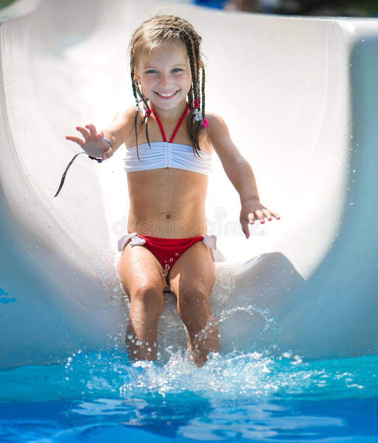 Free Little Girl At Aquapark Royalty Free Stock Photography - 29983837