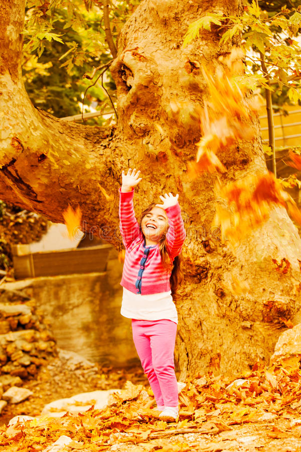 Download Little girl in autumn park stock photo. Image of kids - 27099822