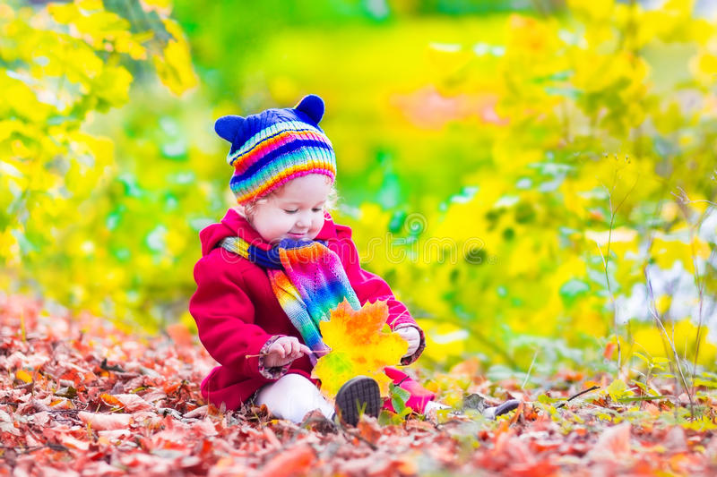 Download Little Girl In An Autumn Park Stock Photo - Image: 43607458