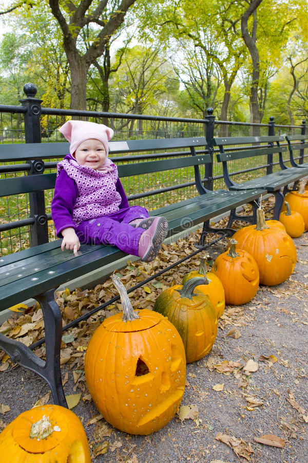Download Little Girl In Autumnal Central Park Stock Image - Image: 11154775