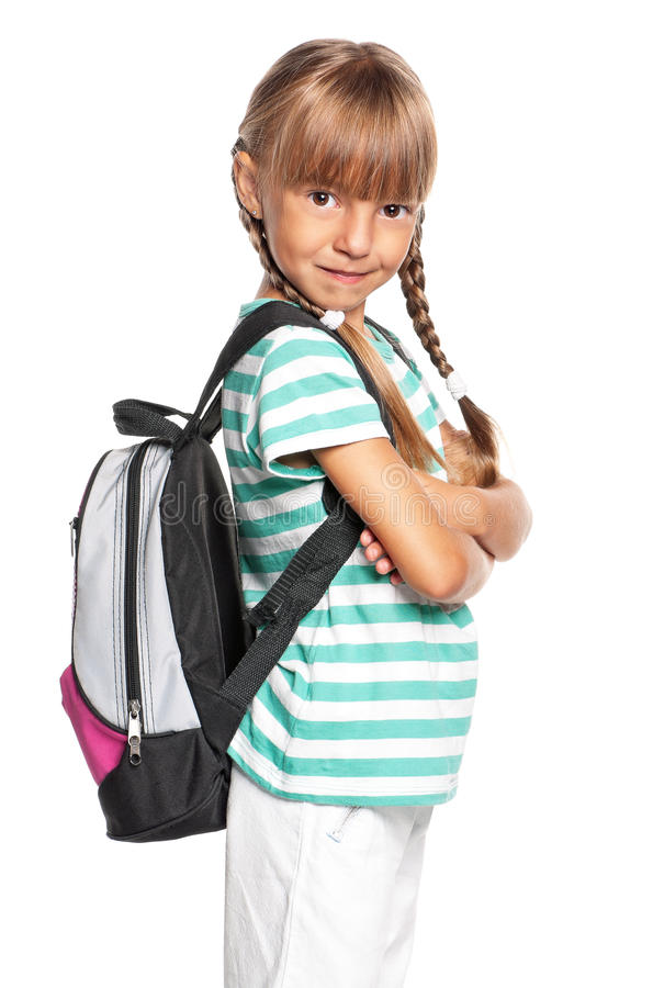 Download Little girl with backpack stock photo. Image of adorable - 27942580