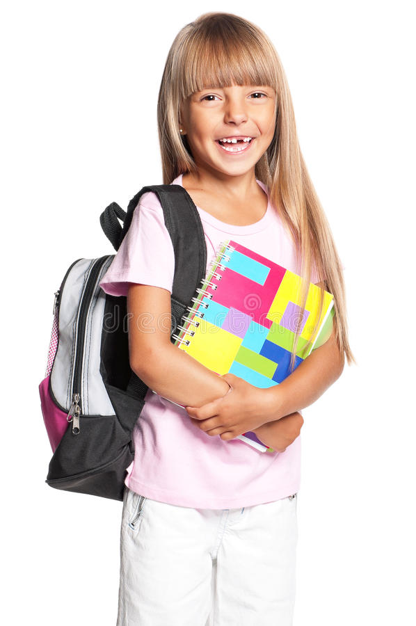 Download Little girl with backpack stock image. Image of beginner - 28948839