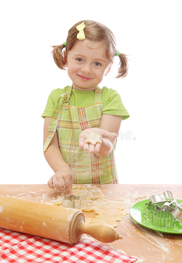 Download Little girl baking cake stock image. Image of dishes - 11312165