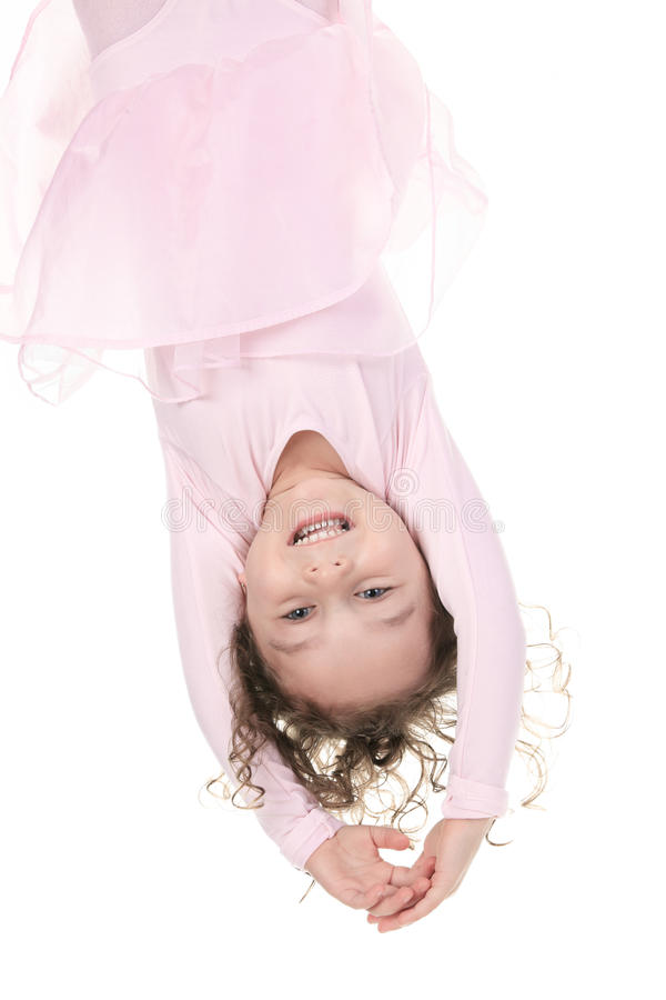 Little girl balerina dancer upside down stock photos