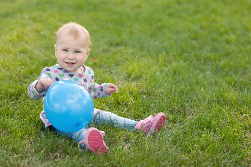 Download Little girl with a ballon stock image. Image of discover - 15976573
