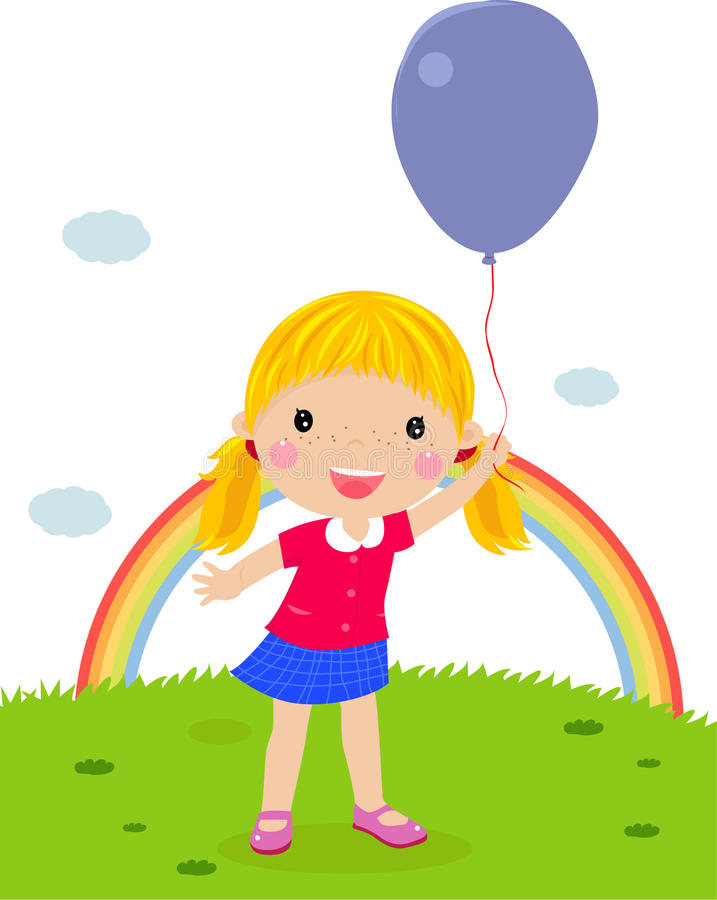 Little girl with an balloon stock illustration