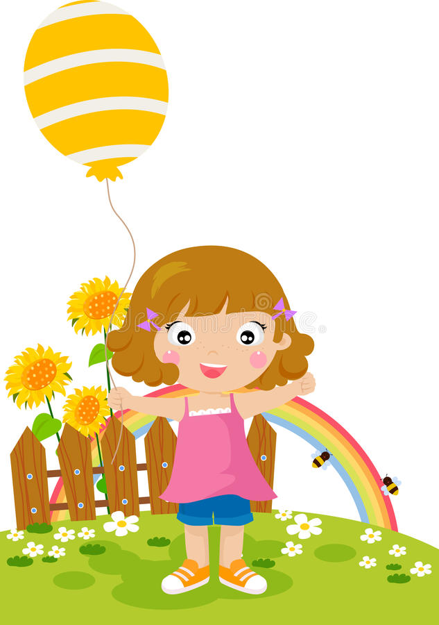 Download Little Girl With An Balloon Stock Vector - Image: 20867131