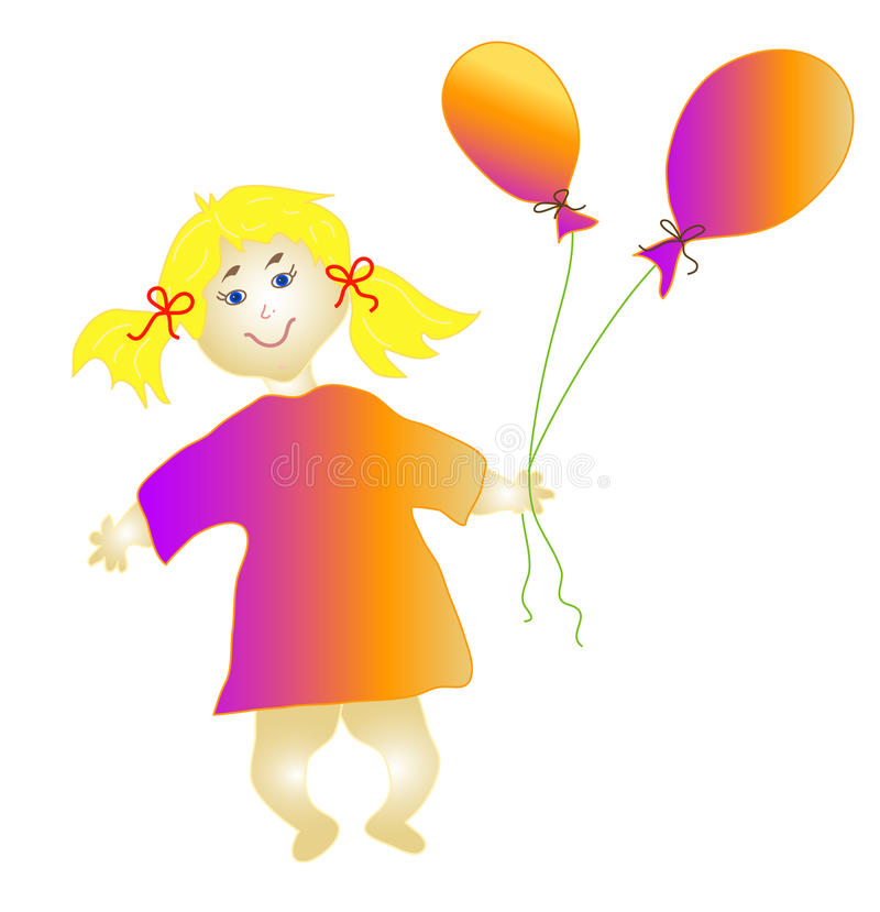 Download Little girl with balloons stock vector. Image of drawn - 12917714