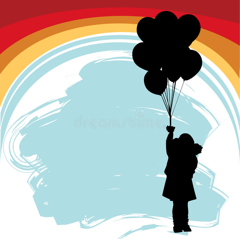 Little girl with balloons royalty free illustration